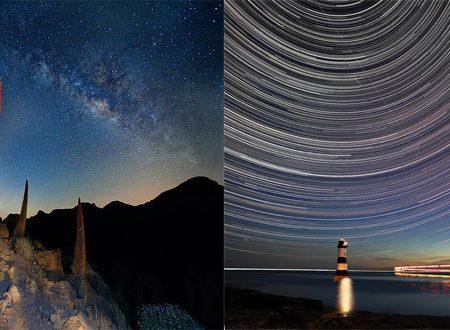 Stelle puntiformi e startrail: obiettivo rivolto al cielo.